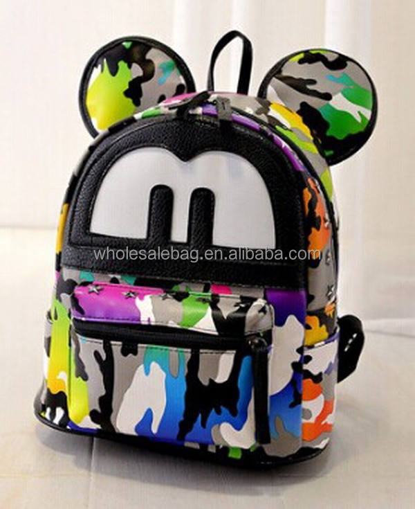 2015 Fancy Colorful Cow Print Small Size Novelty Style 3D Shaped Mickey Mouse Satchel School Backpack Bag For Girls Ladies Women