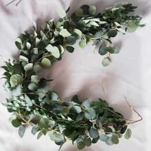 Amazon Hot Sale Silk Eucalyptus Leaves Vines Artificial Eucalyptus Garland Hanging Plants Greenery For Wedding