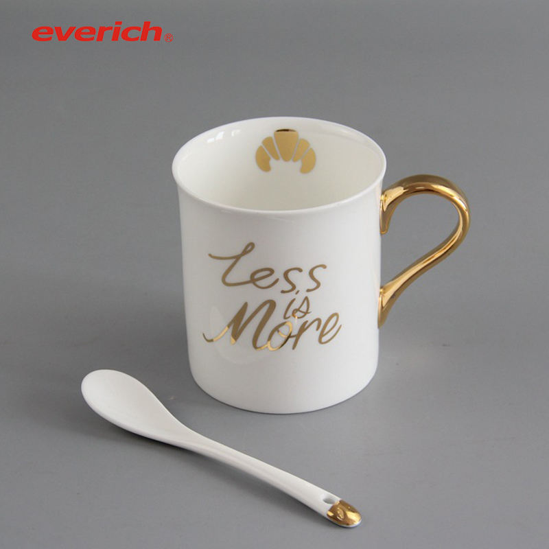 Everich 10 Oz Ceramic Coffee Mug with Handle and Spoon in Custom Design