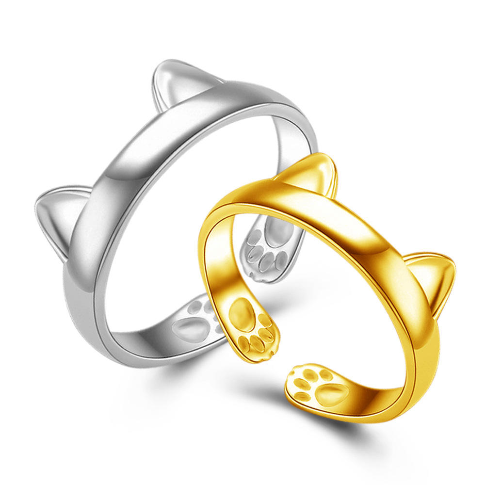 Silver Plated Cat Ear Ring Cute Jewelry Cat Ring For Women Young Girl Child Adjustable Christmas gift jewelry animal