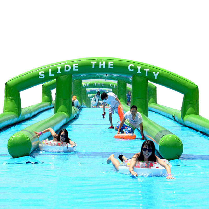 Giant 1000 ft Inflatable Slip and Water Slide The City Blow Up 300m Long Slip n Water Slides City for Kids and Adults