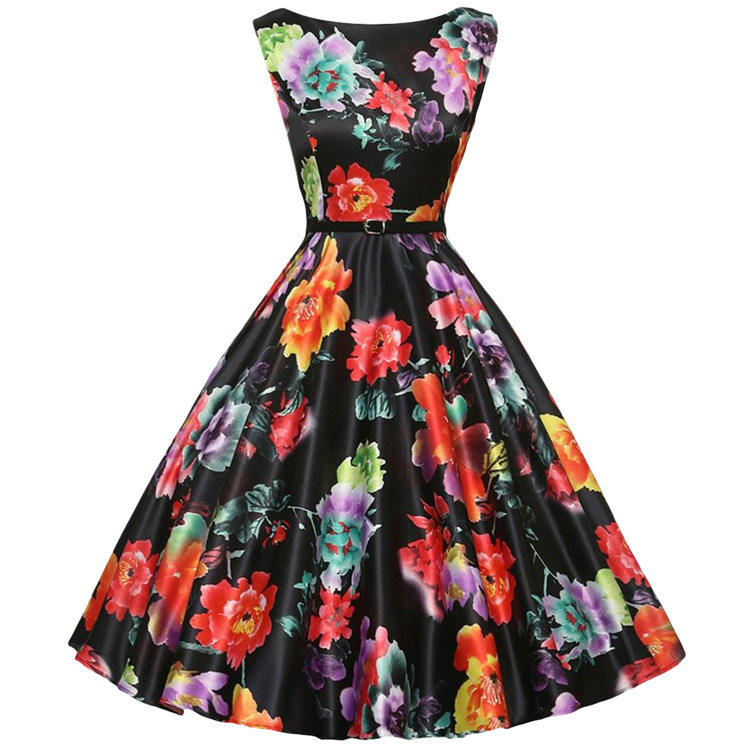 Wholesale price factory 1950s Vintage Floral Swing Dress For ladies