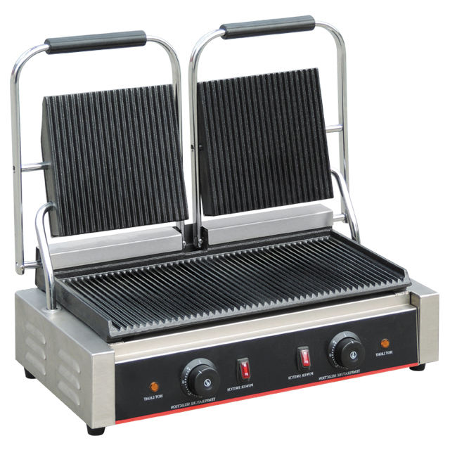 Industrial Double Heads Electric Panini Contact Grill / Sandwich Press