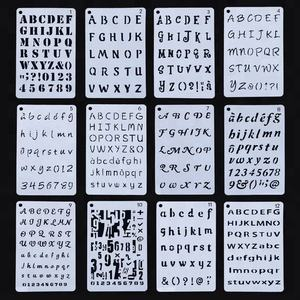 Newest 12pcs set letter alphabet plastic stencil
