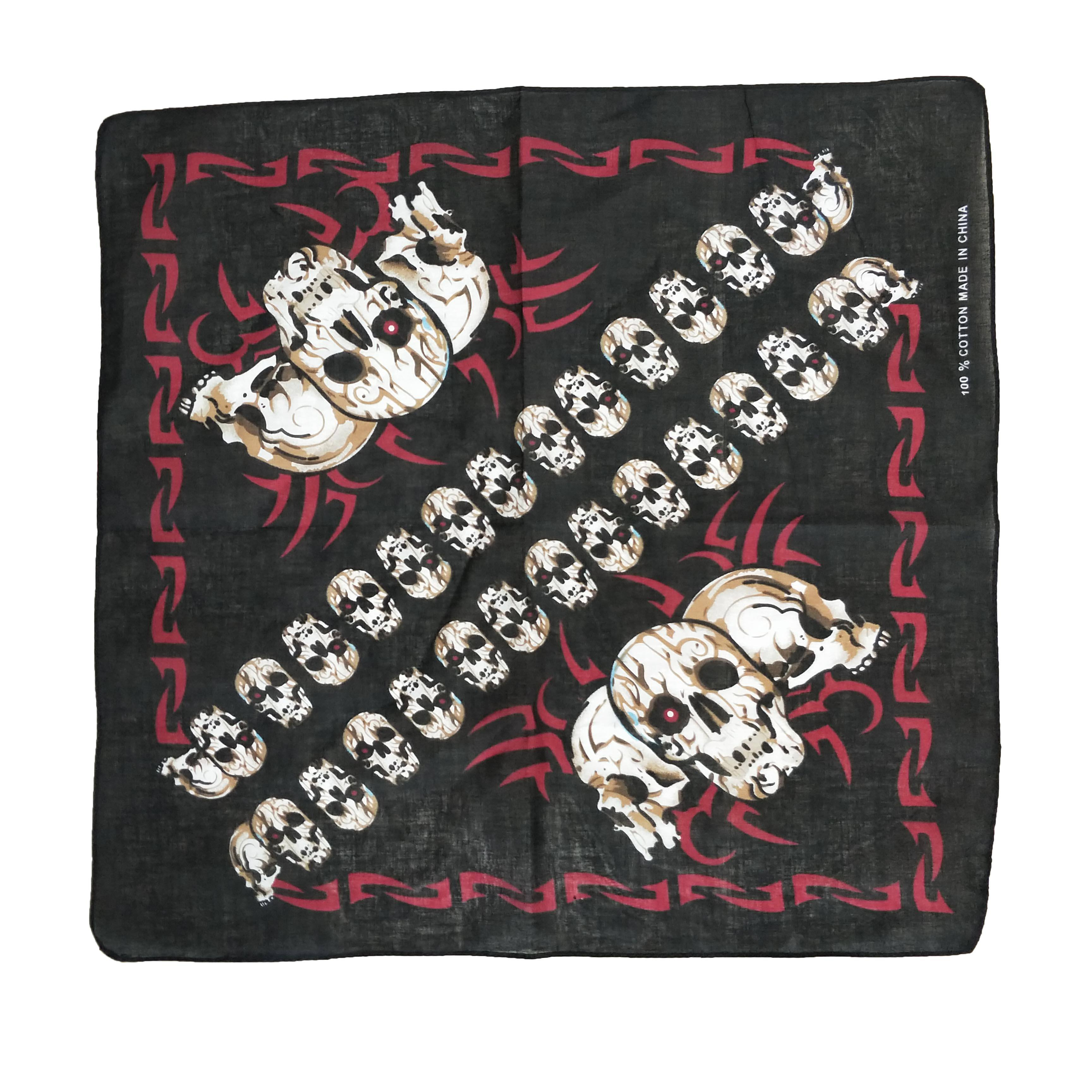 Skull Bandana 100/% Cotton Black with Fiery White Skulls 22 inch Scarf Wrap