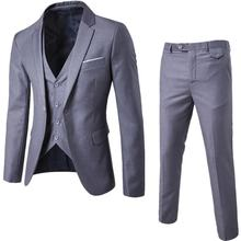 Latest Design Breathable Plus Size One Button 3 Piece Slim Fit Coat Pant Men Suit