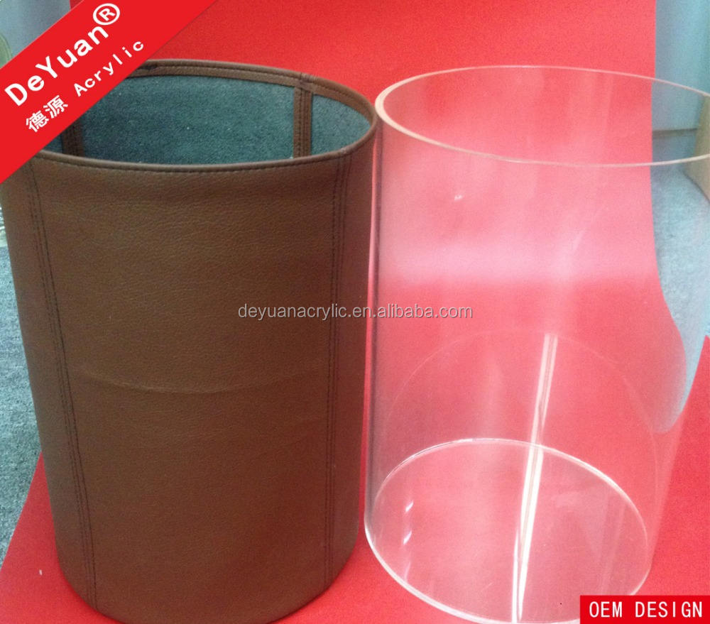 Leather Plastic Waste Bin / Acrylic Trash Can