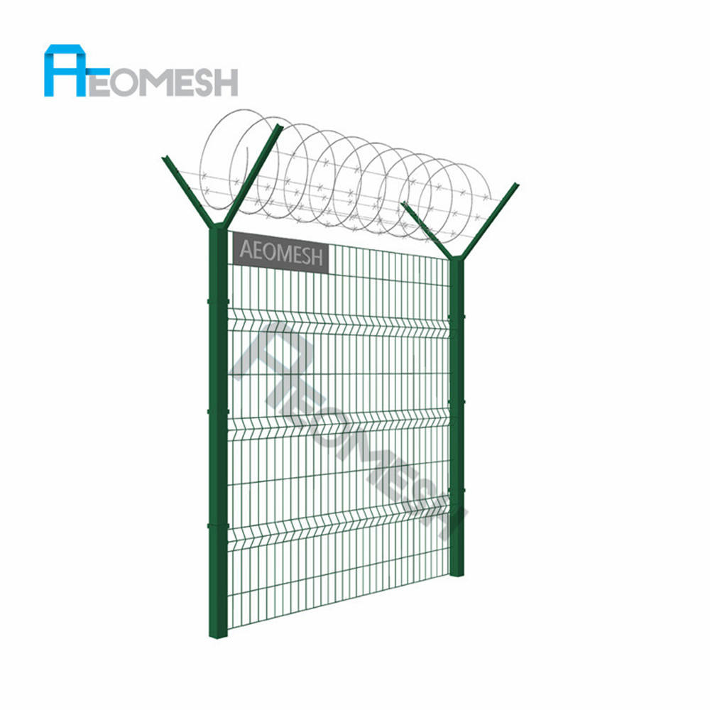 coated Y column pole spraying weld mesh airport fence with barbed wire