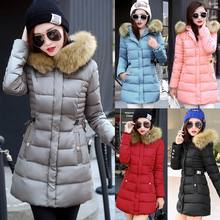 Winter Women Warm Long Down Jacket Padded Fur Coat Hooded Parka Outwear Overcoat
