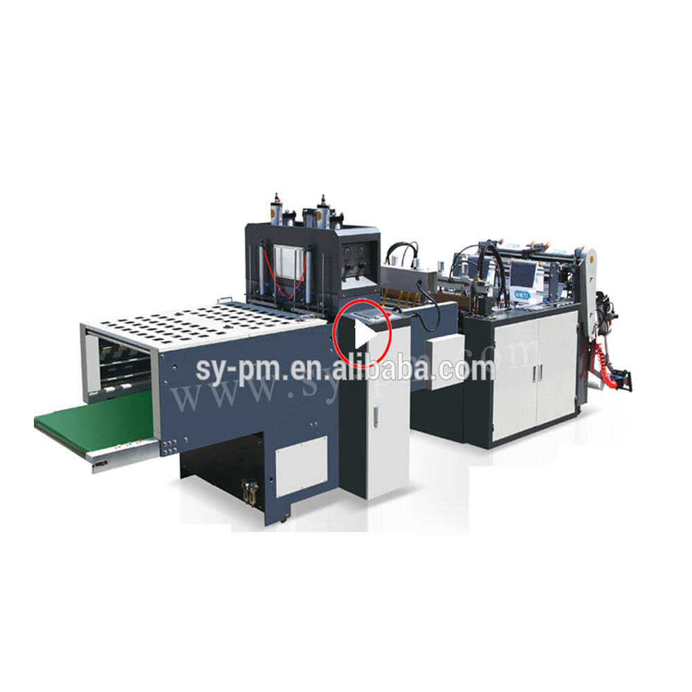 Fully Automatic plastic pe t shirt double lines supermarket pe film bag making machine