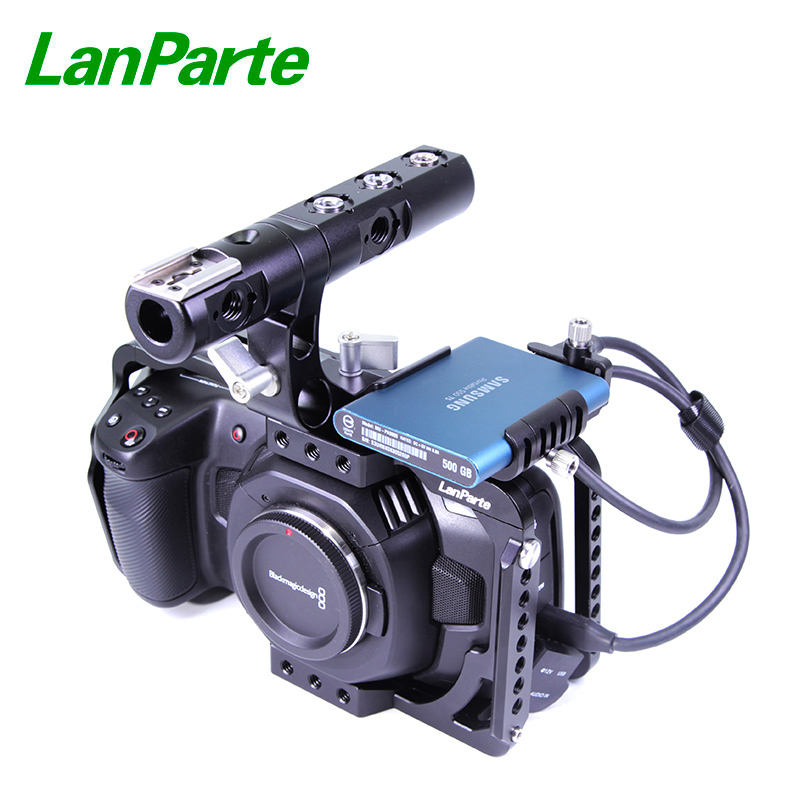 LanParte Blackmagic pocket cinema camera 6K/4K full cage with T5 SSD holder and top handle
