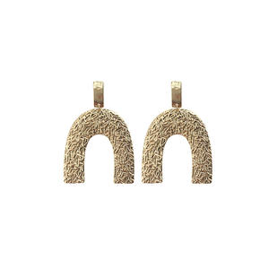 Xus Fashion alloy earrings irregular U shape earrings beaten earrings