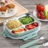 Dishwasher Microwave Safe Square Design Slim Stainless Steel Bento Lunch Box Set With Insulated Bag And Cutlery Food Container