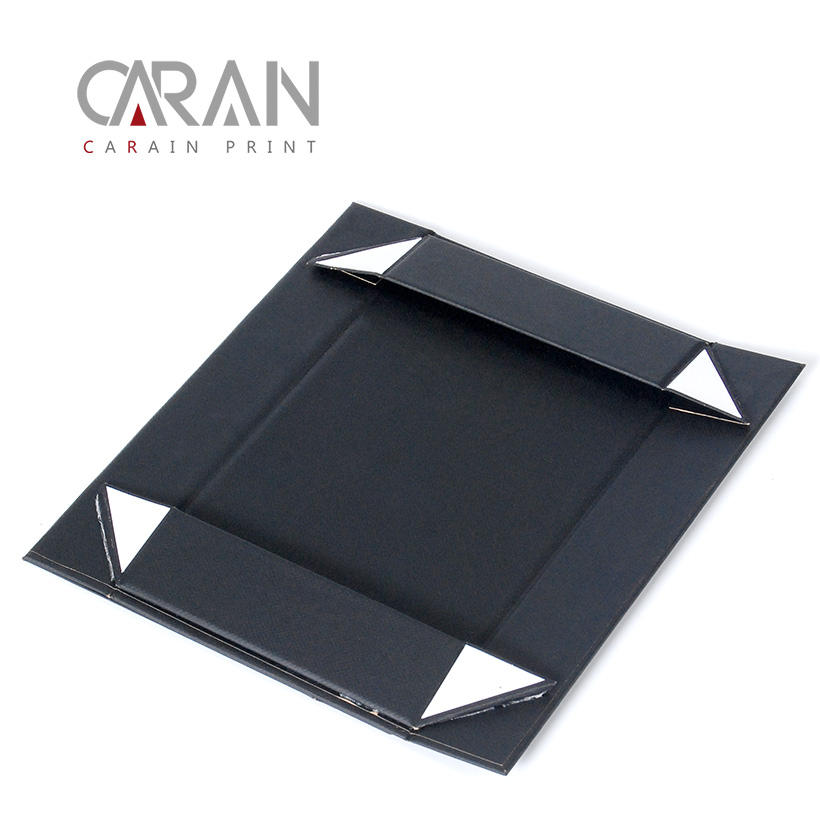 Wholesale rigid black package color printed jewelry foldable paper gift box