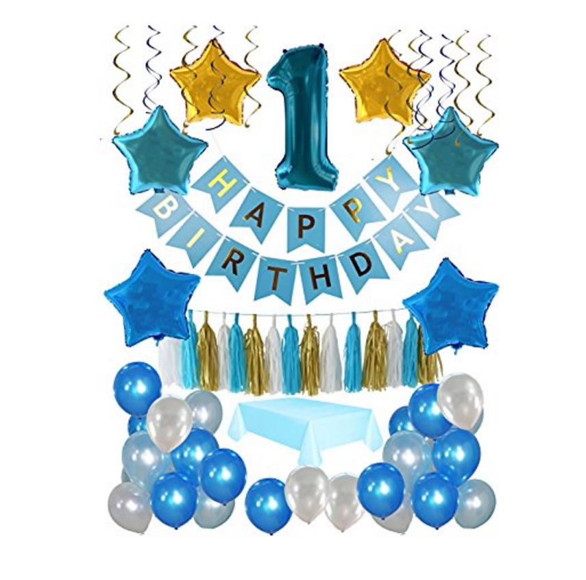 Blue Stars Holographic Happy 18th Birthday BuntingFlag BannerDecoration
