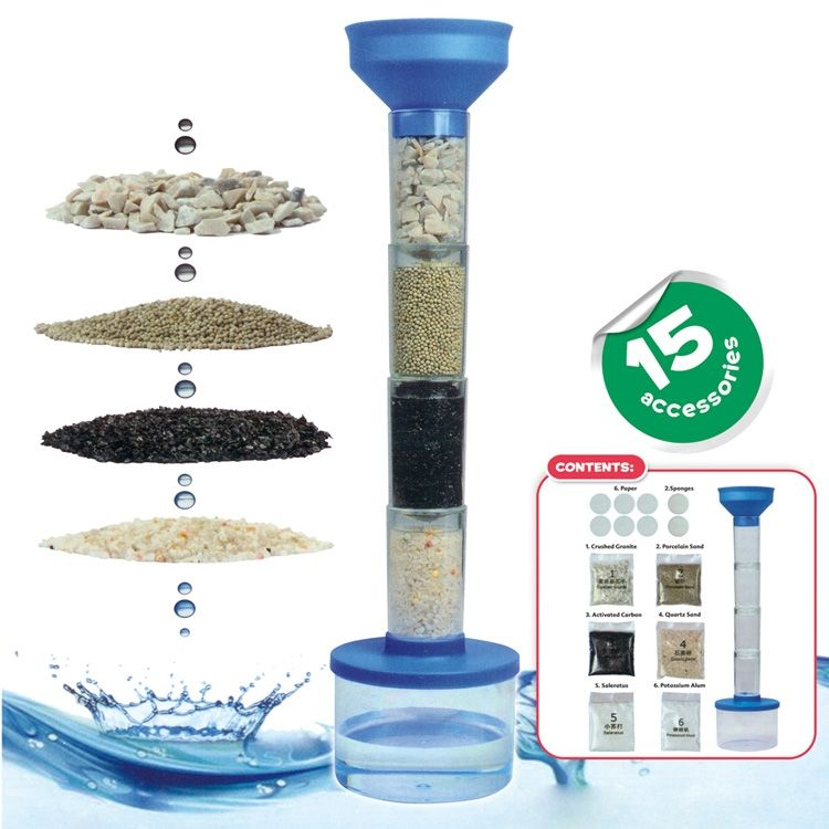 Kids science kit diy water purifier filter toys STEM educational toy experiment custom OEM