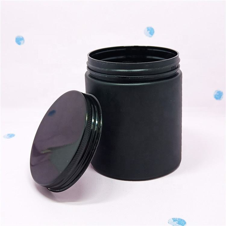 Recyclable custom matte black cosmetic packaging frosted pet plastic jar 250ml black lid