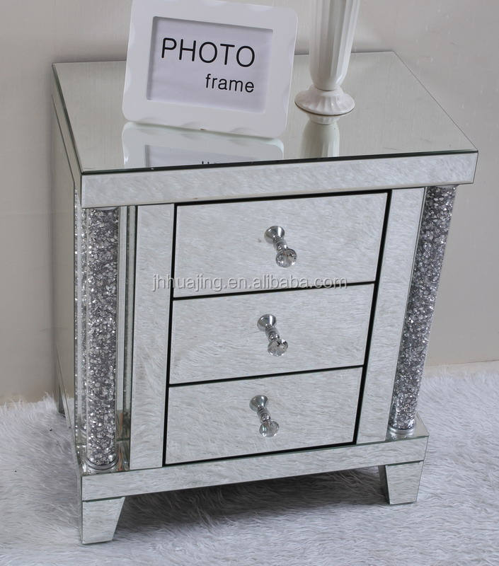 Modern mirrored glass bedroom furniture night stand with diamond decoration