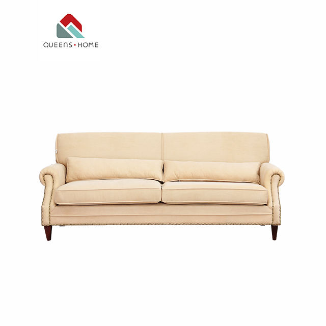 Queenshome house furniture white modern style wooden model fabric simple modular design living room 3 seater couch sofa set