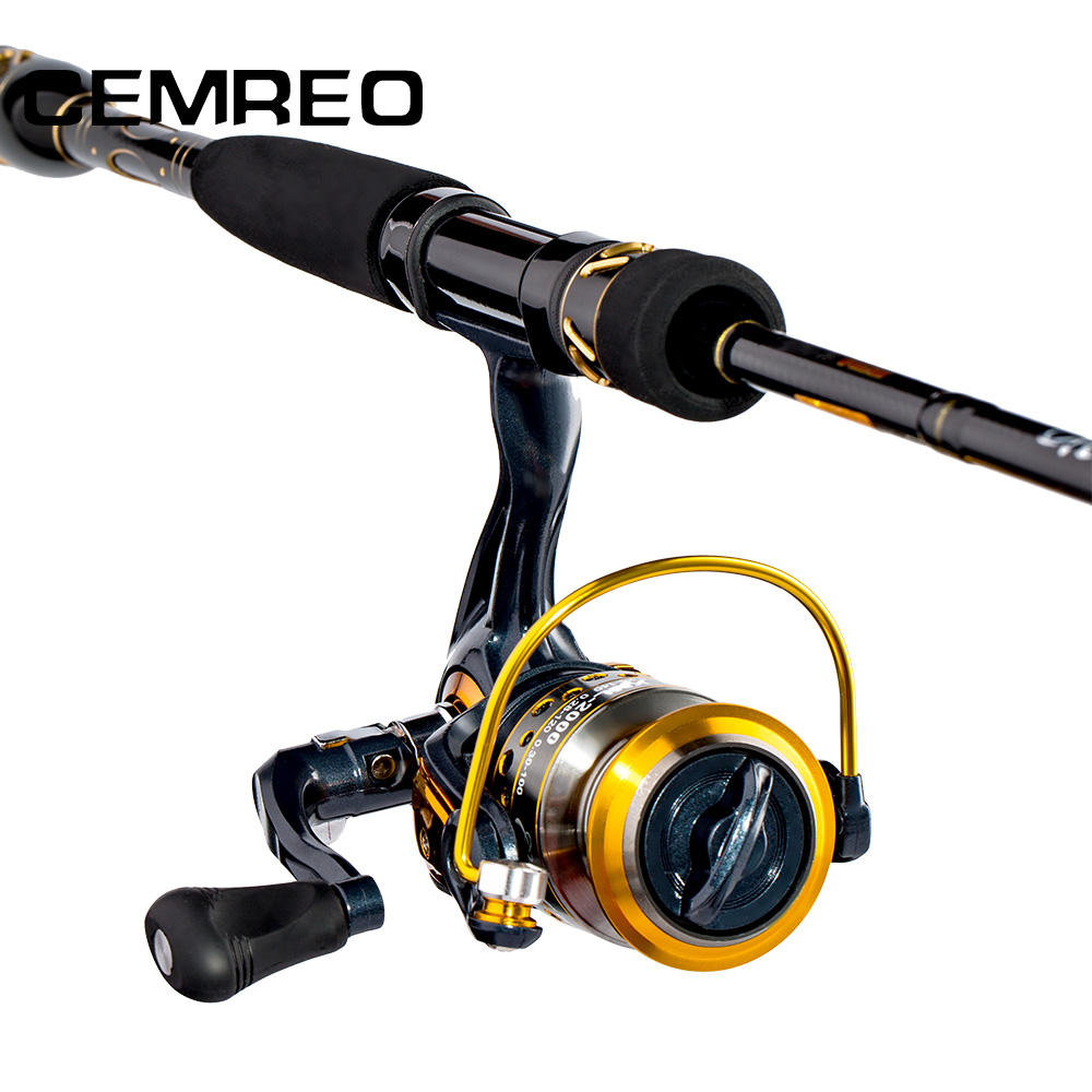 CEMREO Carbon 2.1m 2.4m Spinning Fishing Rod and Reel Combo Set