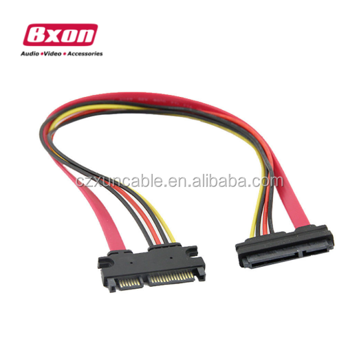 50 cm 22 P 7 + 15Pin Pria M/F Serial ATA SATA Wanita Data Daya Extension cable