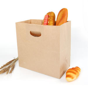 Food grade die cut brown kraft paper bag for baking packaging