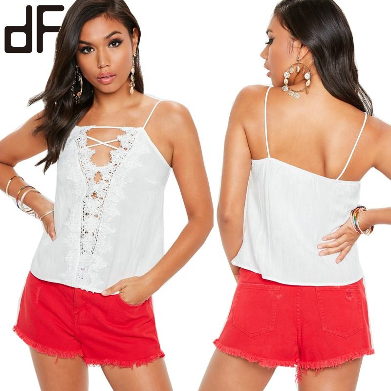 Customized Spaghetti Strap Plain Womens Tops Spring V Neck Fashion White Lace Up Front Crochet Trim Cami Tunic Tops for Women