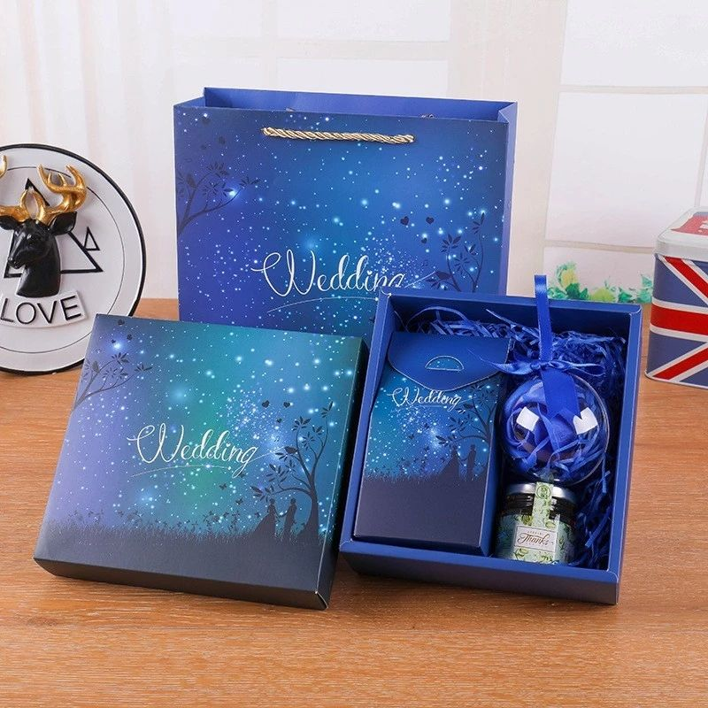 New Product 2020 Blue Color 5 Items Wedding Gift Set baby gift box set