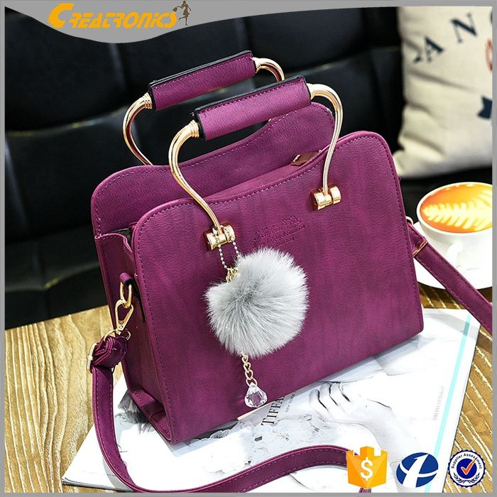 CR Social audit passed manufacture korean style simple and trendty handbag with pocket purple color women purse