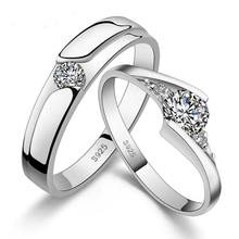 Fashion Silver Plated Crystal Rhinestone Couple Rings for Men/Women 925 Engraved Wedding Engagement Lovers Ring