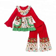 Christmas Toddler children's fall and winter elk pattern baby girl  clothes kids outfit
