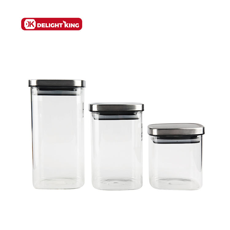 Stainless Steel Lid Storage Box Glass Jar For Kitchen