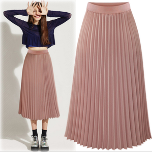 LM0158Q new style summer long chiffon pleated skirt woman fashion maxi skirts