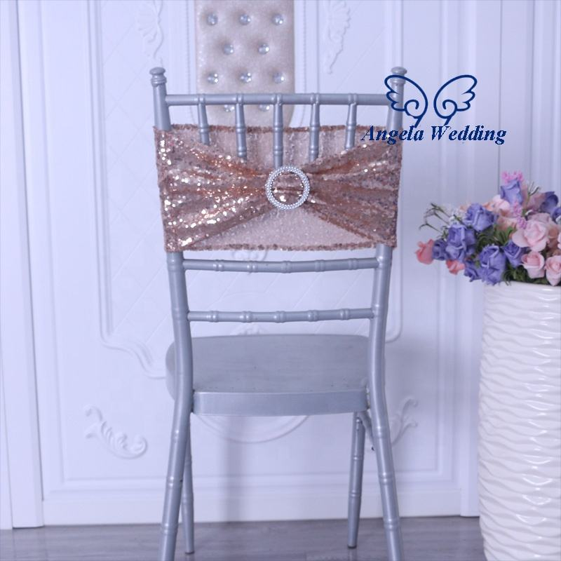 SH022A Gorgeous cheap price wholesale rose gold sequin chair band with buckle