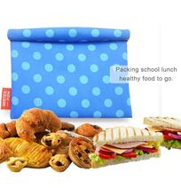Wholesale custom printed cotton snack bags set Eco friendly reusable fold top insulated sandwich snack food packaging bag