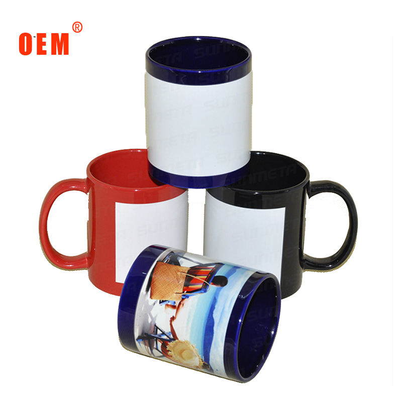 11oz color glazed white patch sublimation ceramic mug with white patch