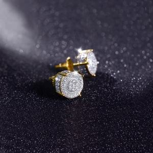 micro pave stud cz earing white gold earrings for men