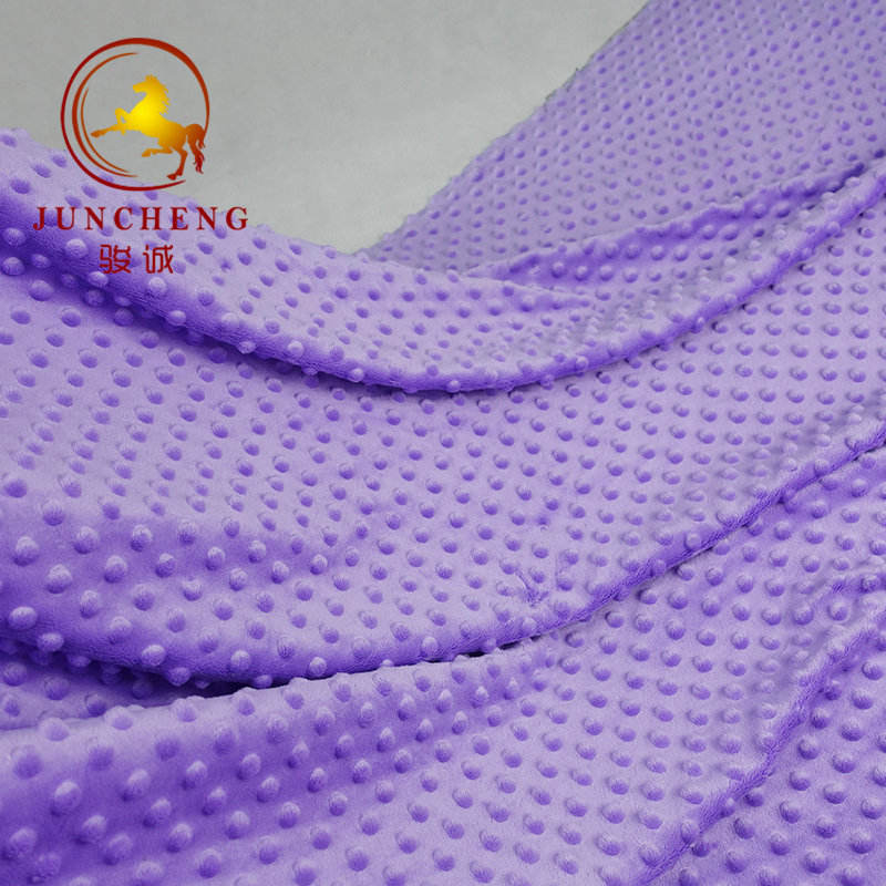 100% polyester 2.5mm pile height soft handle dot minky fabric wholesale for baby children blanket