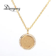 Popular products 2018 gold plated jewelry 18k gold necklace EQ Zirconia disc monogram love actually necklace