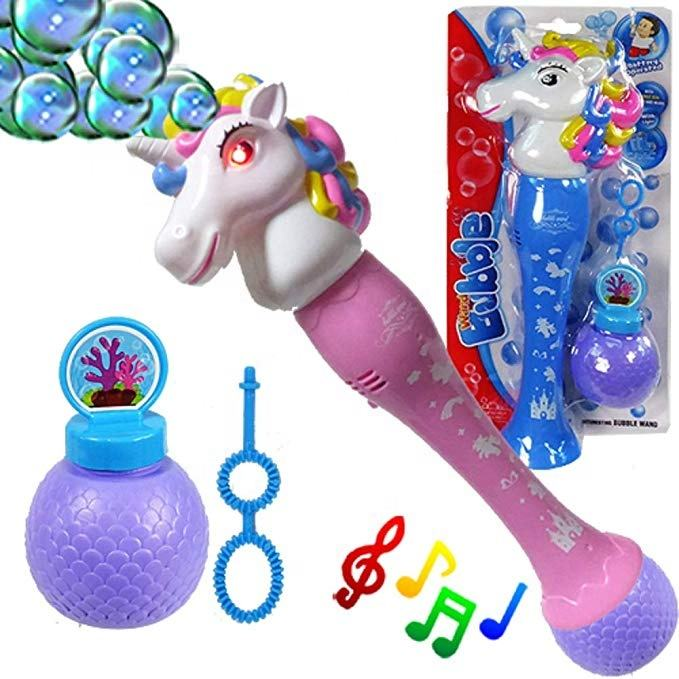 Unicorn Wand Bubble Maker Blower LED Flashing Blaster Machine Musical Light Up Unicorn Bubble wand Machine Bubble Solution