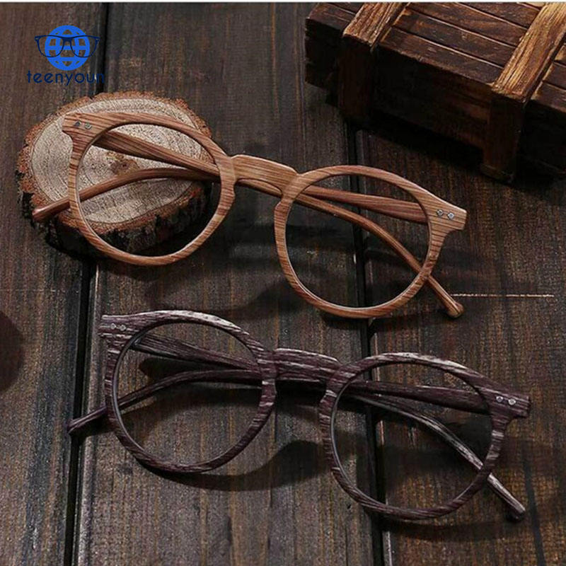Clear Lens Round Retro Wood Grain Color Glasses Myopia Frame PC Decoration Vintage Optical Glasses Frame For Men and Women Round