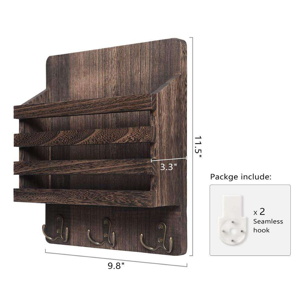 Mail Sorter Organizer Wood Key Holder Organizer Rustic Wall Mail Holder with 3 Key Hook Rack Wall Mount Letter Bills Magazine