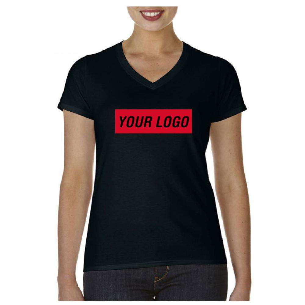 Wholesale Clothing Custom T-shirt Printing Design Black V Neck T Shirt Women