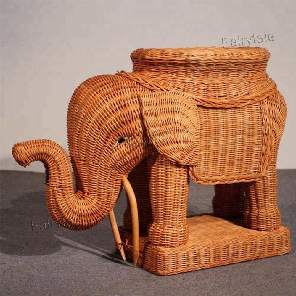 En forma de Animal grande maceta titular fotografía elefante ratán decoración del hogar