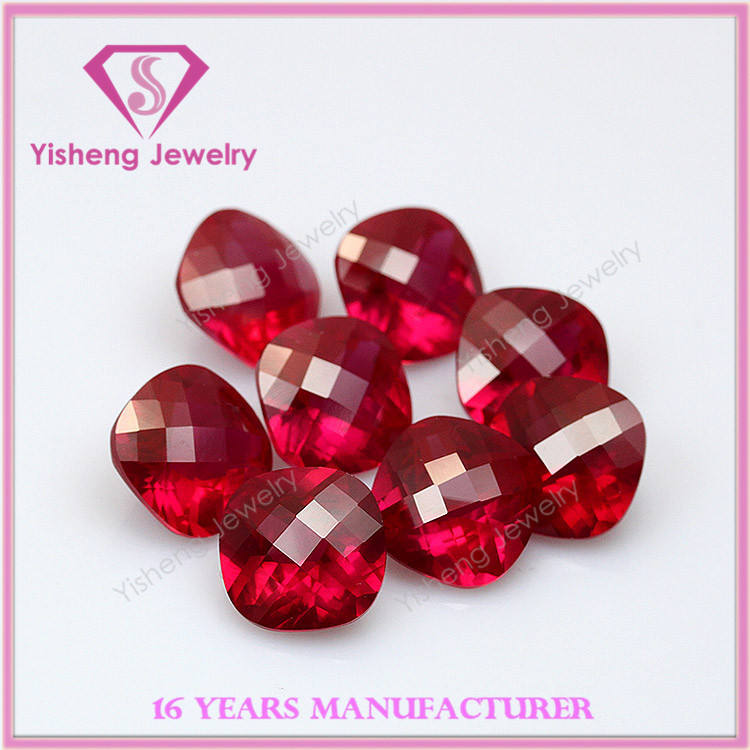 Water Meter synthetic ruby 6*6mm cushion chape checker cut 5# ruby