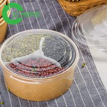 Plastic 2 compartment microwave food container disposable plate with 1000ml kraft paper noodle bowl
