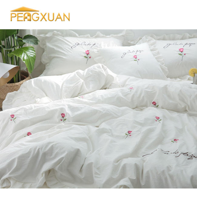high quality Lovely style 100% Cotton White Satin Plain embroidery bed sheet