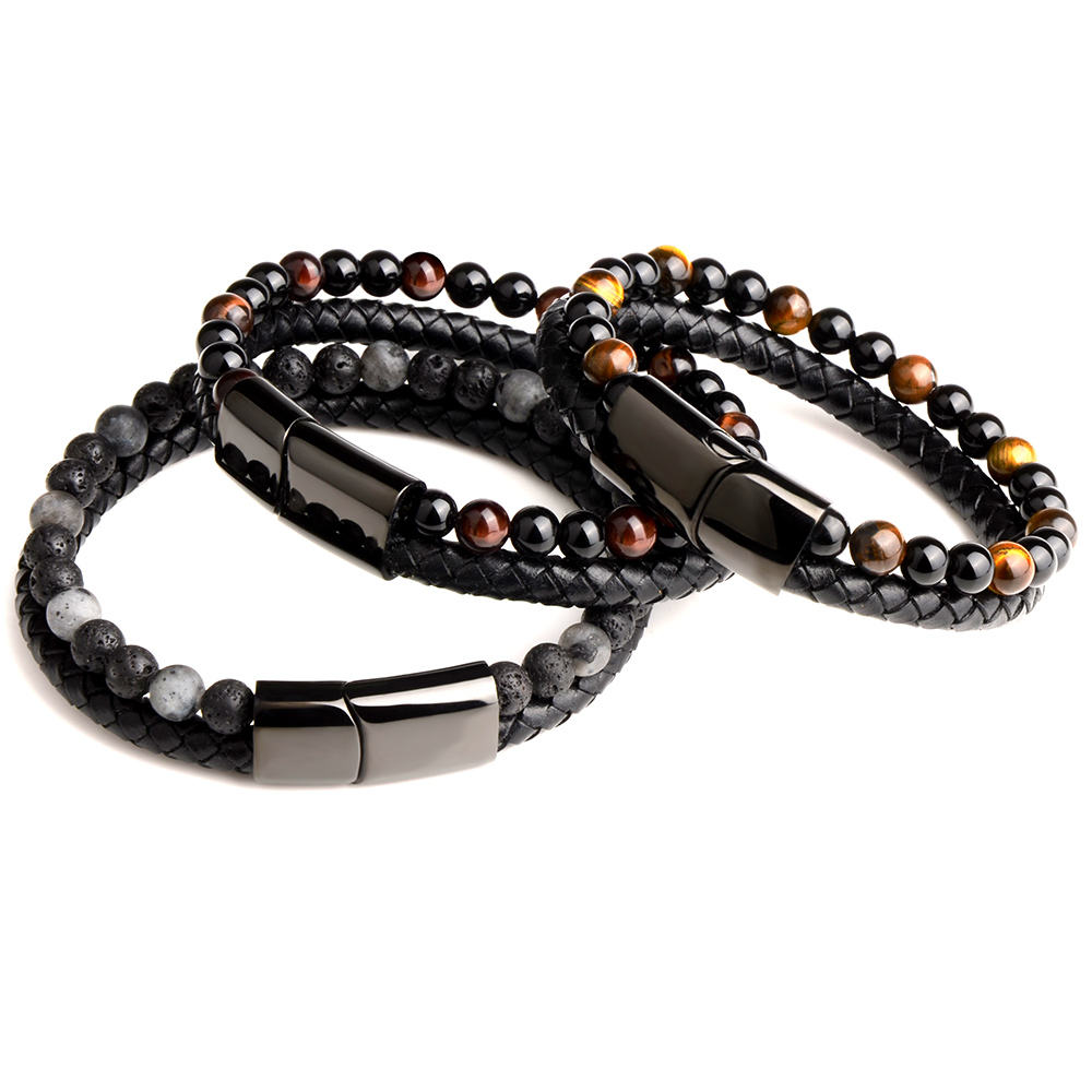 Chanfar Punk Tiger Eye Lava Men Natural Stone Bead Stainless Steel Magnetic Clasp Black Genuine Leather Bracelet
