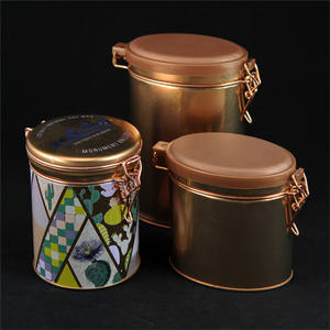 glorious golden color and copper tea tins for coffee and tea packaging and container use with iron enclose design