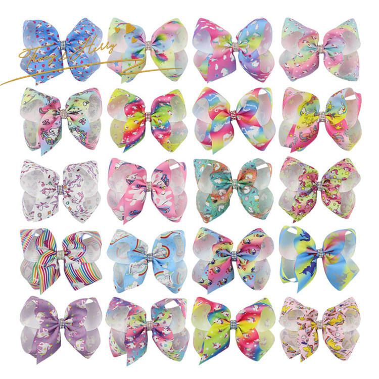 Customized Ribbon hair bow for girls Attractive 6-inch jojo bow hair clip fashion unicorn big bow hair clips for girls